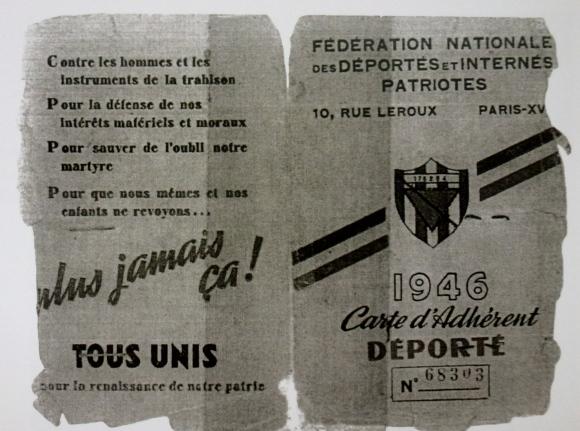 La carte de déporté, délivrée par la France, à Boris Pahor qui sera soigné pendant deux ans en France au sanatorium de Villiers sur Marne.